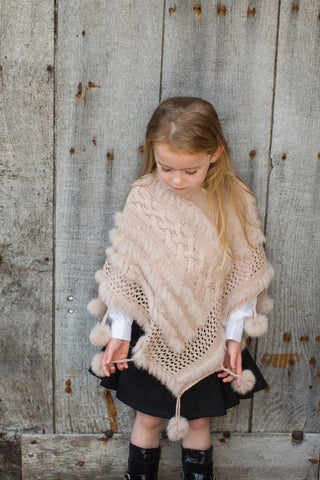 Couche Tot Camel Faux Fur Knitted Poncho