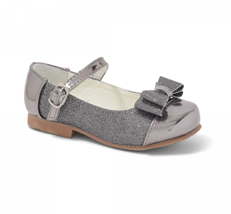 Sevva Rebecca Glitter Bow Shoes Grey