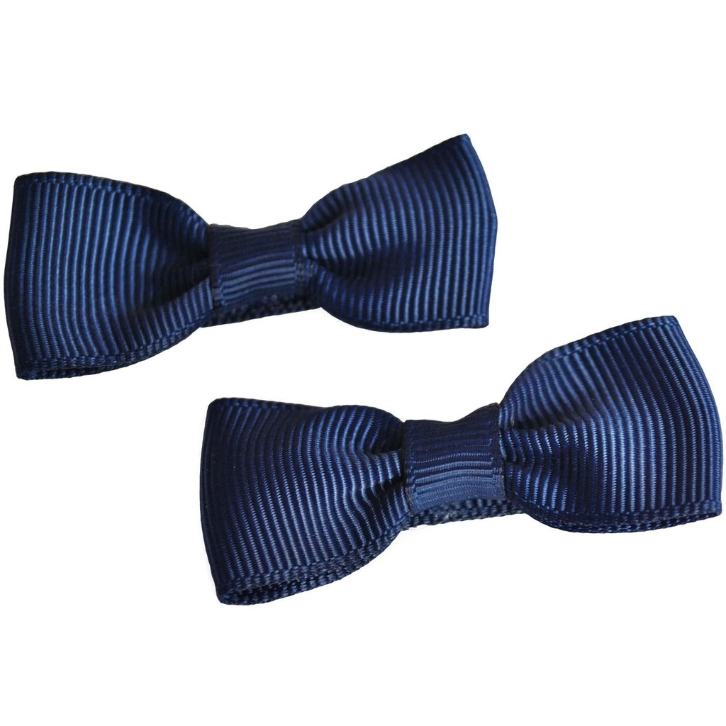 Mini Bow Clips - Pair of Navy