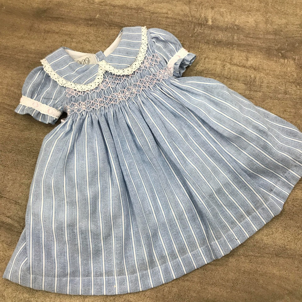 Beau Kid Blue Pin Striped Smock Dress