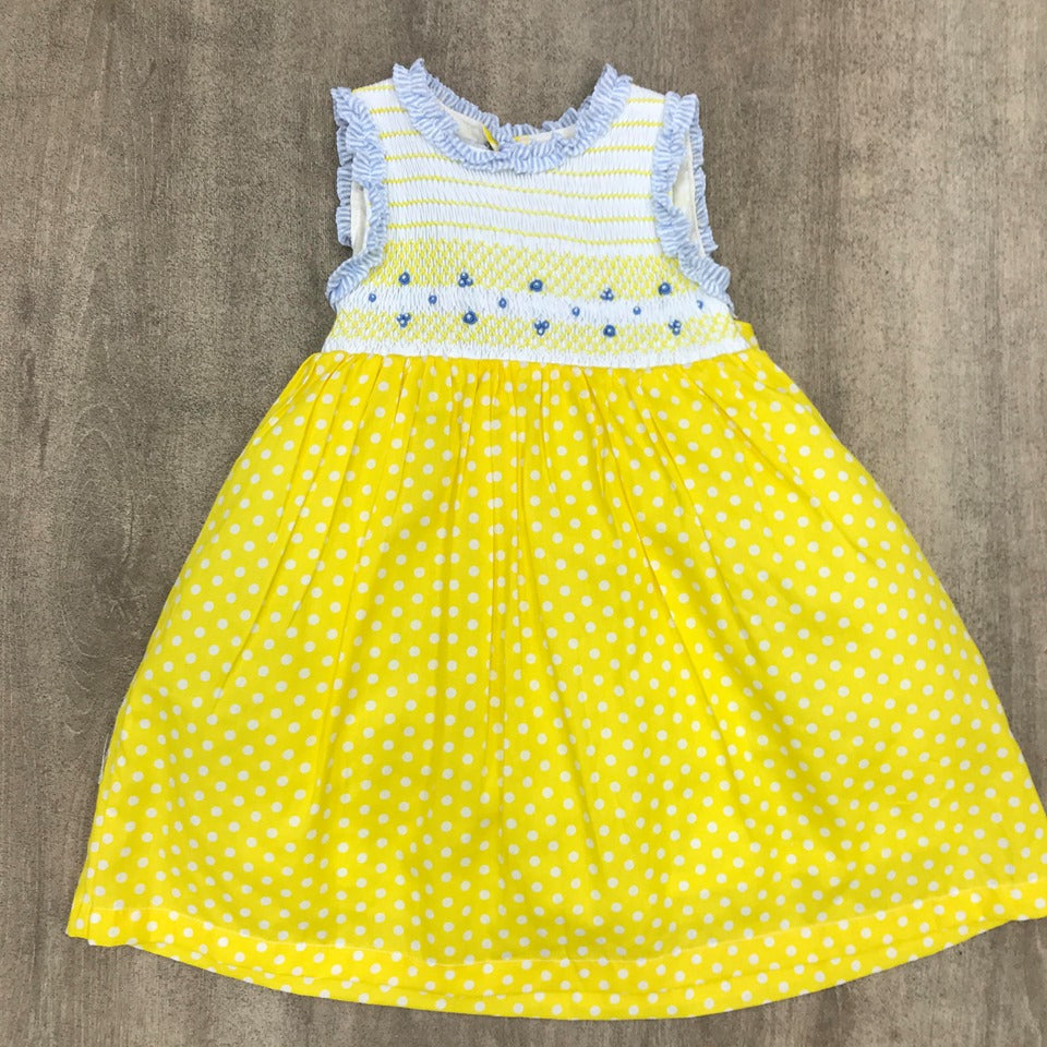 Beau Kid Yellow Smocked Polka Dot Dress