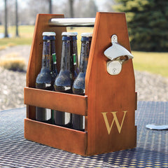 Personalized Wooden Craft Beer Holder with Bottle Opener | GroomStand