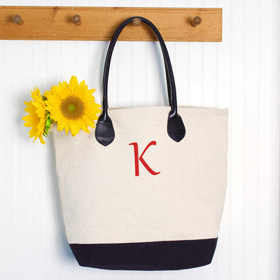 Canvas Tote Bag w/ Leather Straps