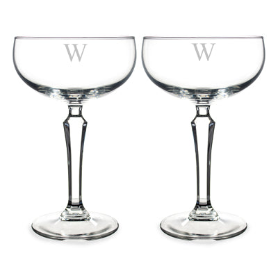 Personalized Champagne Coupe Toasting Flutes with Intial