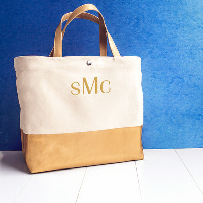 Personalized Metallic Color Dipped Tote Bag