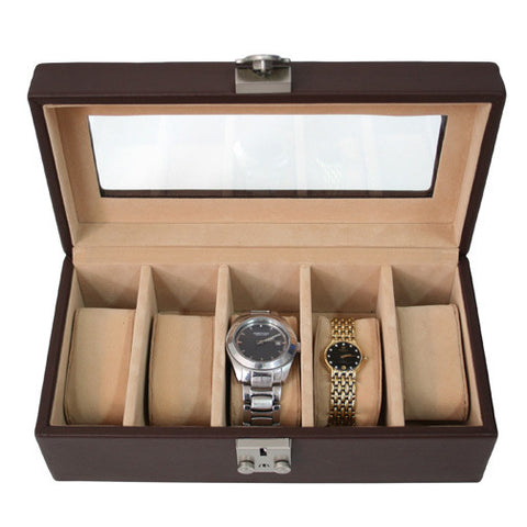 Personalized Leather Deluxe 5 Watch Box