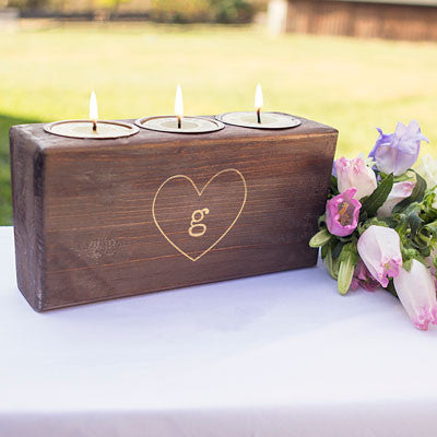 Personalized Rustic Heart Sugar Mold Unity Candle Holder