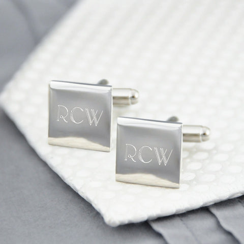 Engraved Cufflinks - Silver Square