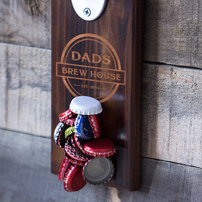 Personalized Dad's Brew House Wall Mount Bottle Opener with Magnetic Cap Catcher