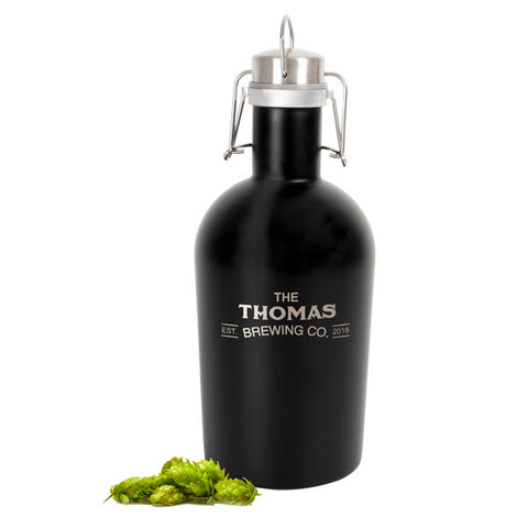 Personalized Black Stainless Steel Growler
