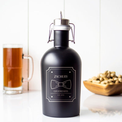 Personalized Black Stainless Steel Groomsman Growler