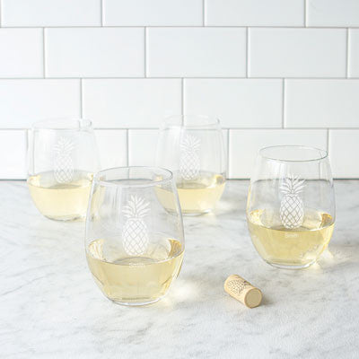Personalized 21 oz. Pineapple Stemless Wine Glasses