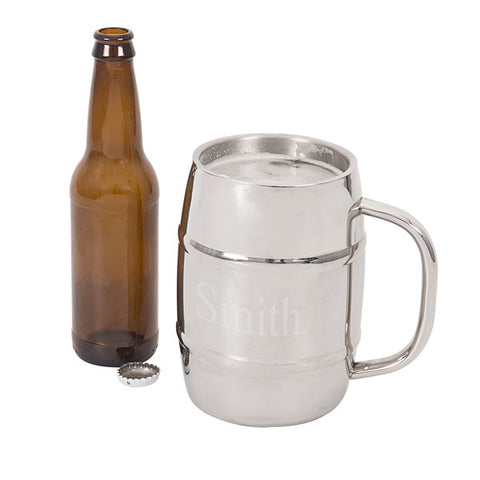 Personalized 33 oz XL Double- Wall Beer Keg Mug