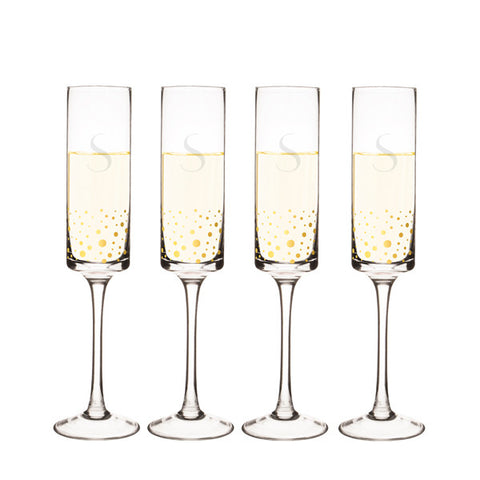 Personalized 8 oz. Gold Dot Contemporary Champagne Flutes (Set of 4)