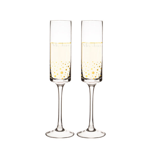 Personalized 8 oz. Gold Dot Contemporary Champagne Flutes (Set of 2)