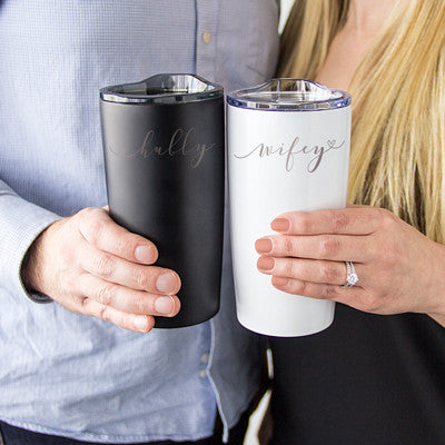 Hubby & Wifey 20 oz. Stainless Steel Double Wall Tumbler Set