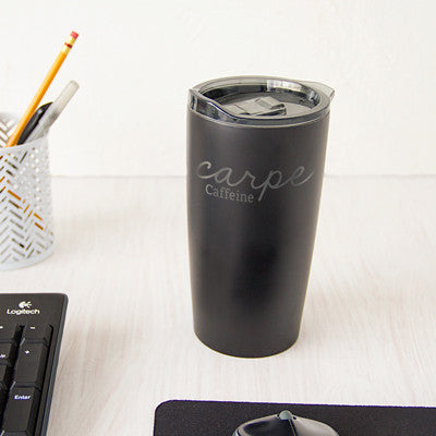 """20 oz. """"Carpe Caffeine"""" Stainless Steel Double-Walled Tumbler"""