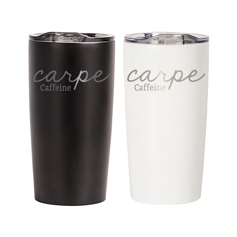 "20 oz. ""Carpe Caffeine"" Stainless Steel Double-Walled Tumbler"