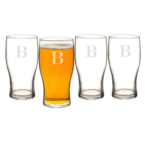 Personalized 19 oz. Craft Beer Pilsner Glasses Set of 4