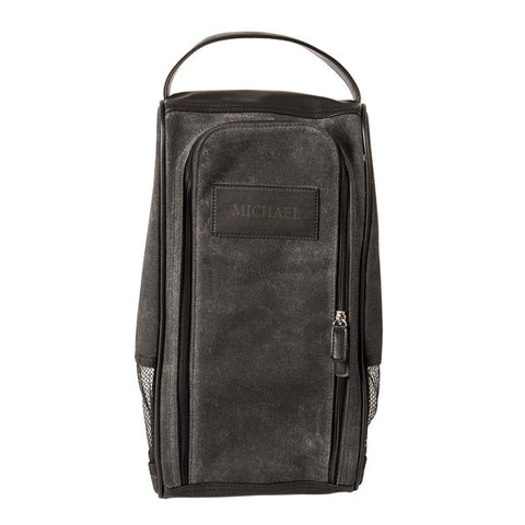 Personalized Waxed Canvas Golf Shoe Bag