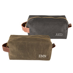 Personalized Men's Waxed Canvas and Leather Dopp Kit