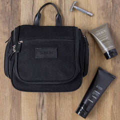 Personalized Men's Waxed Canvas and Leather Hanging Toiletry Bag