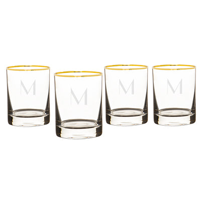 Personalized 11 oz. Gold Rim Whiskey Glasses