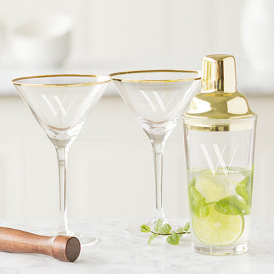 Personalized Gold Cocktail Shaker Set with Gold Rim Martini Glasses