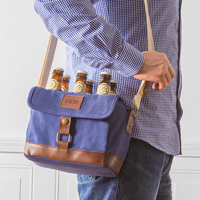Personalized Insulated Waxed Canvas 6-Pack Bottle Carrier