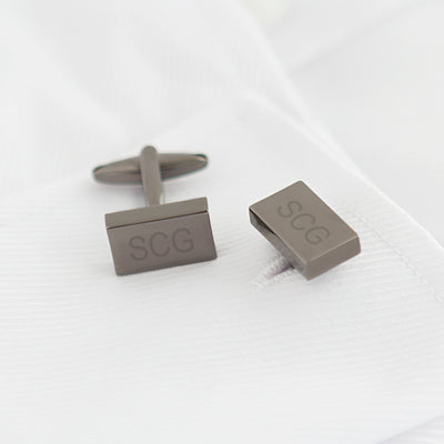 Personalized Gunmetal Rectangle Cuff Links