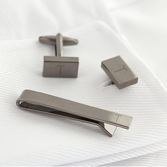 Personalized Gunmetal Rectangle Cuff Link & Tie Clip Set