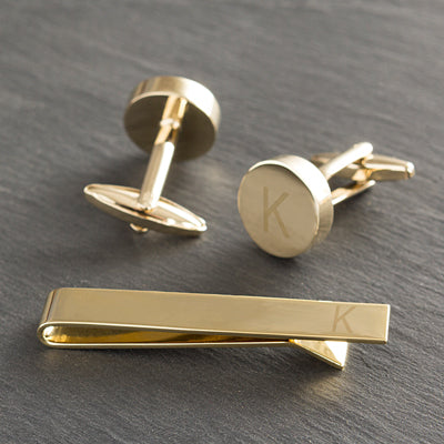Personalized Round Cuff Link and Tie Clip Set