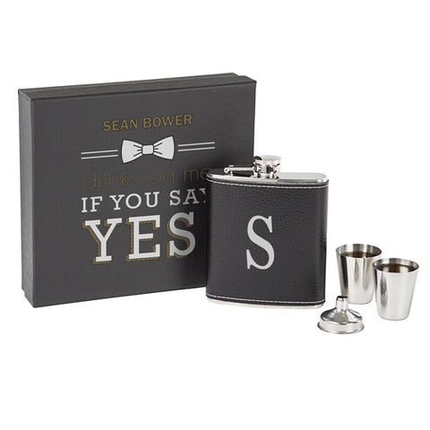 Personalized Printed Leather Wrapped Flask Set