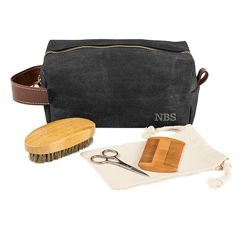 Personalized Men's Waxed Canvas and Leather Dopp Kit with Beard Grooming Set