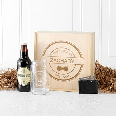 Personalized Best Man Beer Gift Box Set