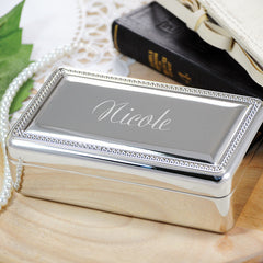 Beaded Silver Jewelry Box