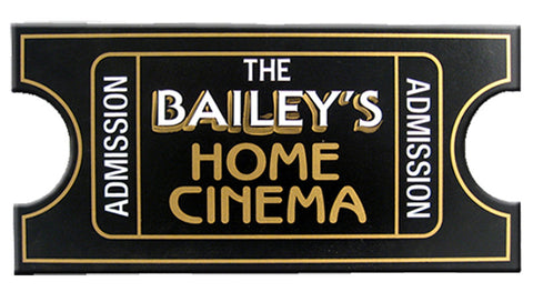 Handcrafted Cinema Ticket Sign