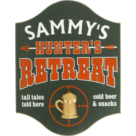 Personalized Pub Sign - Hunter's Retreat with Mug