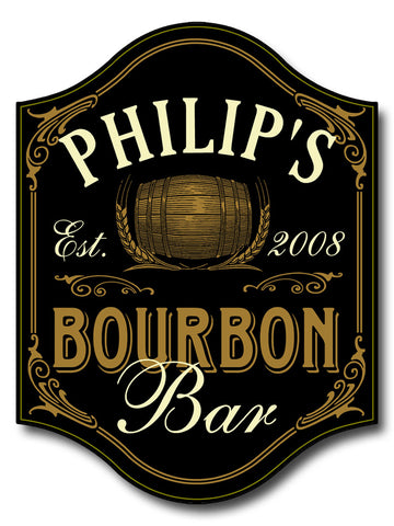 Handcrafted Bourbon Bar Sign