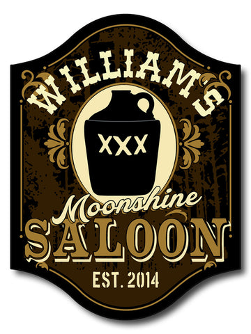 Handcrafted Moonshine Saloon Pub Sign