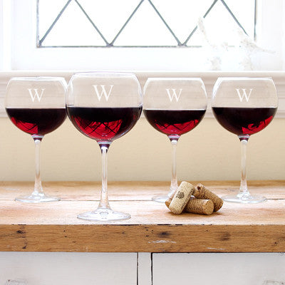 Red Wine Glasses (Set of 4) with Personalization