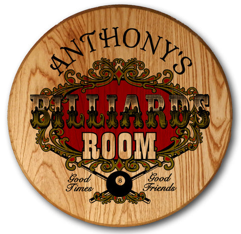 Personalized Billiards Room Barrel Head Sign