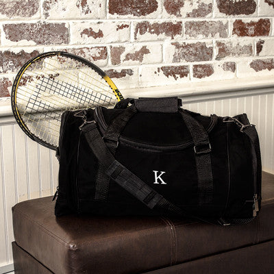 Personalized Black Deluxe Sports Duffle Bag