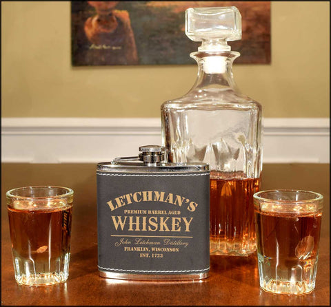 Personalized Leather Flask - Whiskey Design