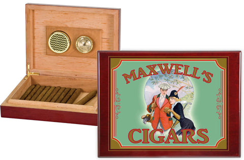 Personalized Humidor with Rosewood Piano Finish