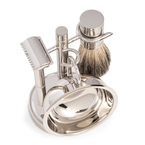 DE Safety Razor & Pure Badger Brush with Soap Dish on Chrome Stand