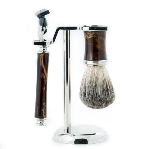 """Fusion"" Razor & Pure Badger Brush with Marbleized Brown Enamel on Chrome Stand"