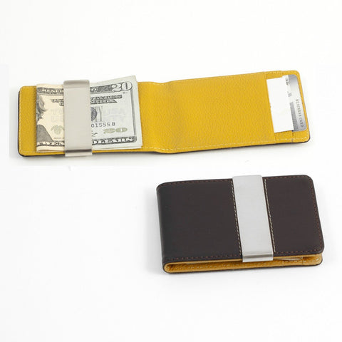Brown Leather Wallet with Credit Card / ID Slots and Stainless Steel Money Clip.
