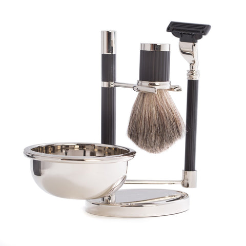 """Mach 3"" Razor & Pure Badger Brush with Soap Dish on Chrome Black Stand"