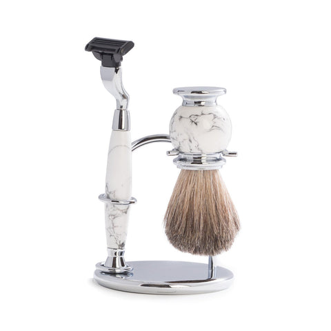 """Mach 3"" Razor & Pure Badger Brush on Chrome with White Stone Stand"